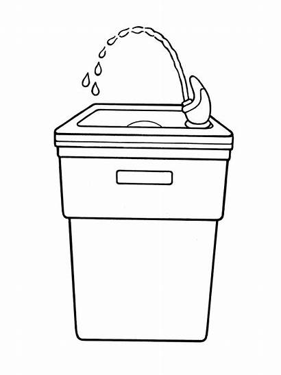 Fountain Water Clipart Drinking Drink Cartoon Library