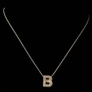 quotbquot clear rhinestone letter initial pendant necklace 1 With letter b necklace pendant