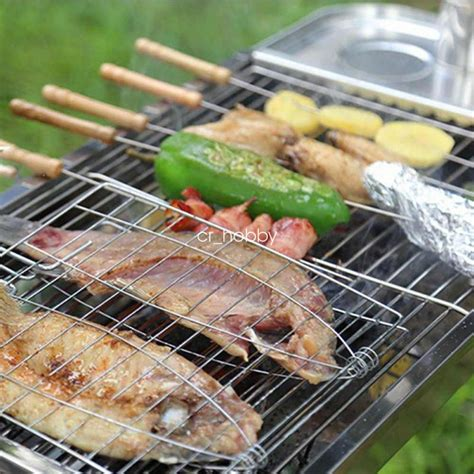 big size bbq barbecue meat burger fish  holder grill rack basket folding stand ebay