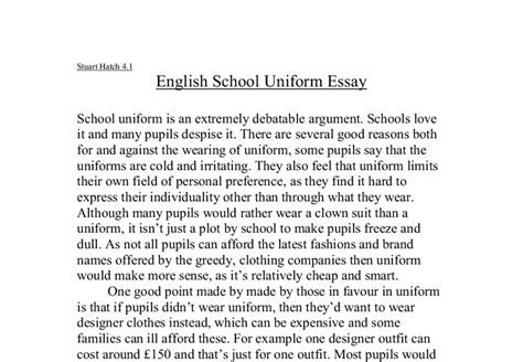 School Uniforms Pros And Cons Essay - Usefulresults