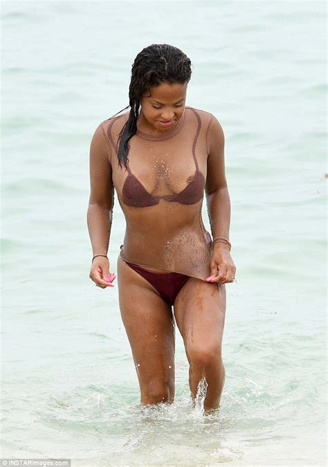 Was It Accidental Christina Milian S Nipple Exposed At The Beach