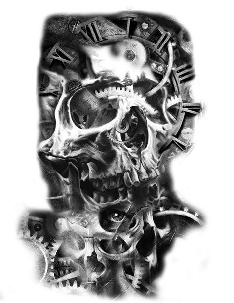skull tattoo idea clock gears mechanical tattoo   Gear