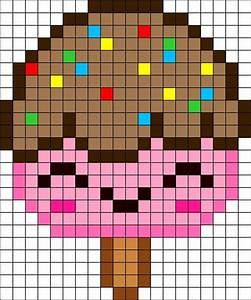 Free Kawaii Ice Cream perler hama bead pattern or cross ...