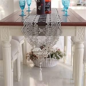 Lace Table Runners White  Gold  Black Wedding Cheap Modern Tassel