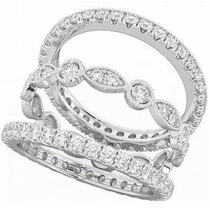 925 sterling silver unique 3 piece eternity wedding ring set With engagement wedding and eternity ring sets