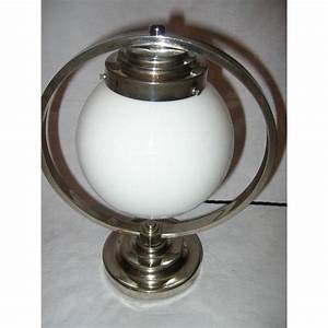 Lovely pair of french nickle plate ring table lamps on