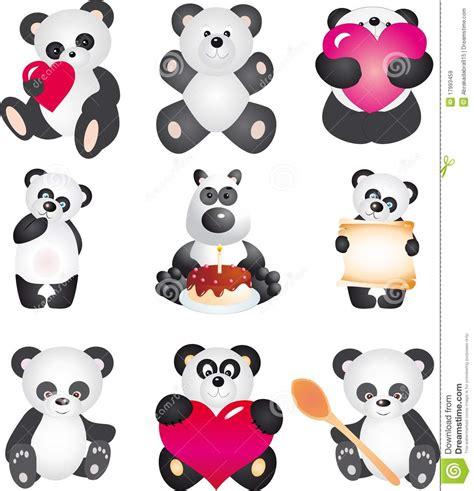 panda vector collection stock vector illustration