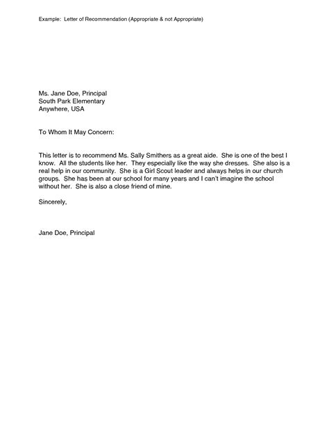 exle letter of reference exles of letter of recommendation template
