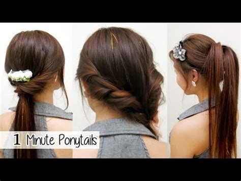 Easy Ponytail Hairstyles For by 1 Minute Ponytails Timed L Easy School