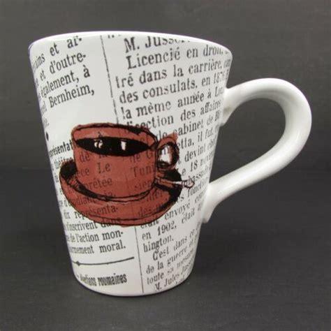 It calls for a good cup as well as a warmer. Williams Sonoma French Newsprint Coffee Mug Newspaper   eBay #williamssonoma #coffeemug # ...