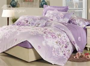 sweet rose and lily blossom 4 piece purple fitted sheet pattern bedding set beddinginn com