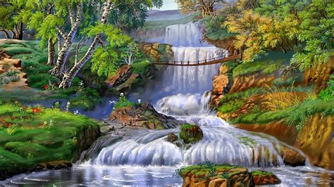 waterfall landscapes landscape waterfall grass trees 1294 wallpapers13 com