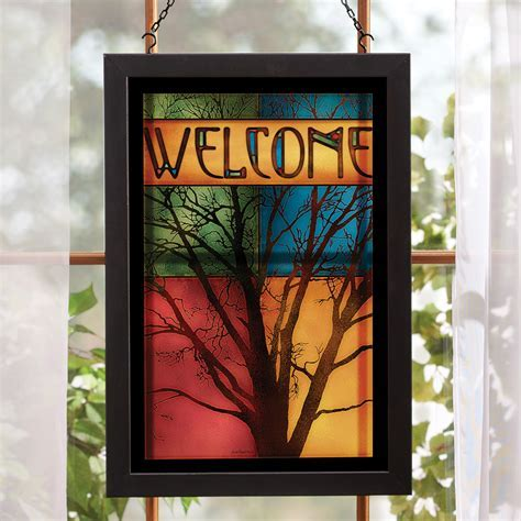 Misty Morning Tree Stained Glass Wall Art