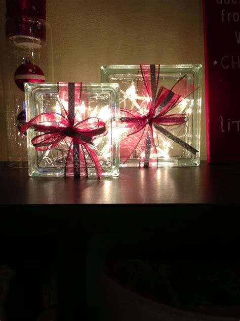glass blocks filled with christmas lights and wrapped with