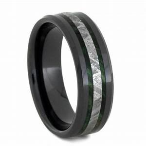 meteorite wedding band black ceramic ring with green box With mens wedding ring box