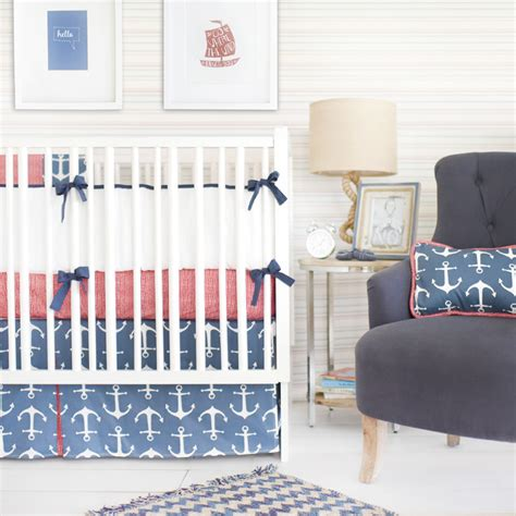 anchor crib bedding anchors away in navy crib bedding set by new arrivals inc
