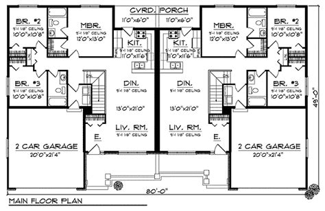 traditional ranch duplex home plan ah architectural designs house plans