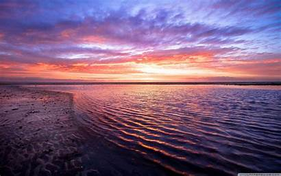 Horizon Sunset Wallpapers Desktop Sea 4k