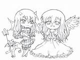 Devil Coloring Pages Angel Anime Chibi Printable Cute Colouring Demons Twin Wings Drawing Teens Sheets Demon Adult Fairy Adults Games sketch template