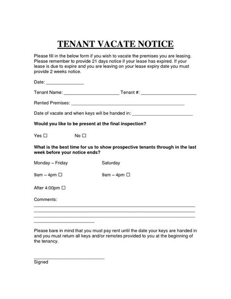 printable sample vacate notice form legal template