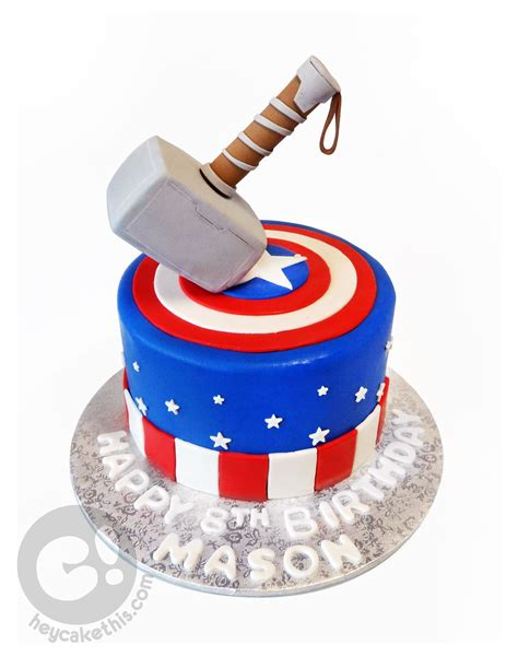 captain america  thor themed birthday cake captain