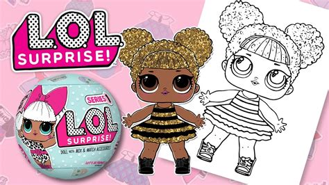 lol surprise doll queen bee coloring book pages  kids