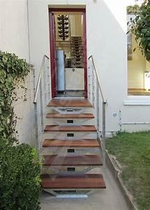 photo dt97 esca39droitr sur limon central avec palier d With modele escalier exterieur terrasse 1 escalier gradine rampe garde de corps