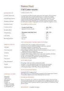 sle resume call center no experience entry level resume templates cv sle exles free student college graduate