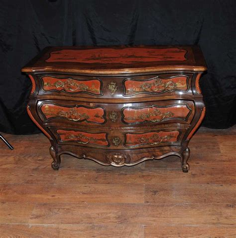 antique french lacquer commode bombe chest drawers