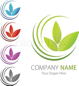 custom logo design company business logo design vector leaf ecology stock vector colourbox