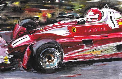 Niki lauda's near fatal accident was at km 10.4 between ex mühle and bergwerk corners. Niki Lauda Ferrari 312 T2 Nurburgring 1976 F1 Car ORIGINAL Acrylic Painting on Canvas hand-made ...