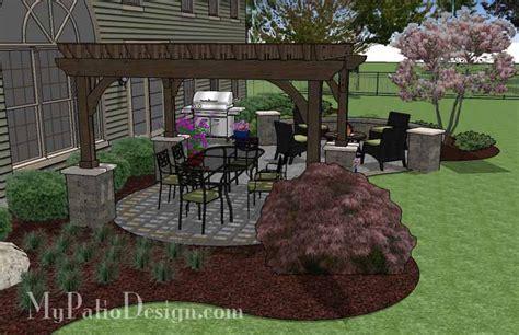 beautiful patio design  pergola  seating wall  sq ft  installation plan