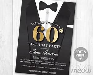 Surprise Birthday Invite Templates 60th Birthday Invite Invitation Sixty Black Tie Secret