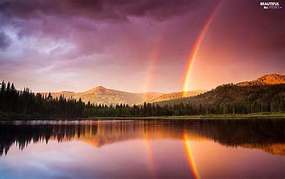 Rainbow Forest Mountains Rainbows Mountain Lake Views
