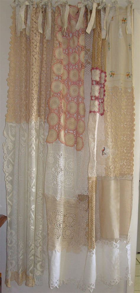 vintage shabby chic curtains shabby chic shower curtain vintage crochet