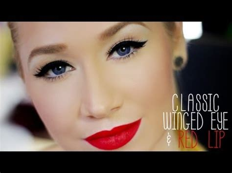 classic thick winged eye red lip completed  super easy extra tipstricks youtube