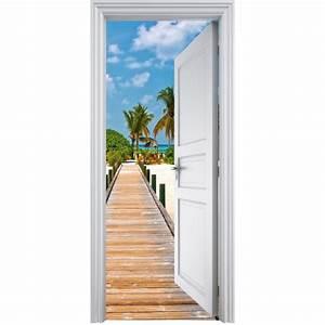Image Trompe L Oeil : sticker porte trompe l 39 oeil d co les tropiques 90x200cm ~ Melissatoandfro.com Idées de Décoration