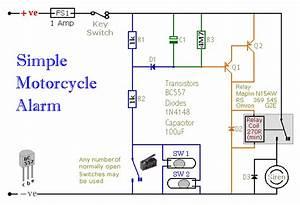 A Simple Transistor Based Motorcycle Alarm Circuit Diagram