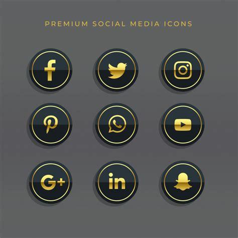 praemiensatz goldene social media ikonen und logos