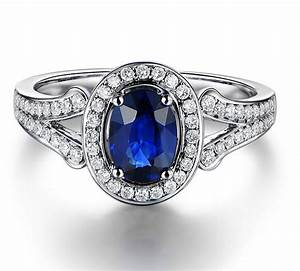 vintage 2 carat blue sapphire and diamond halo engagement With blue diamond wedding rings for women