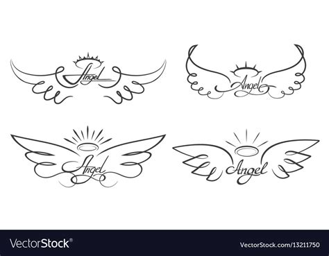 angel wings drawing winged royalty  vector image