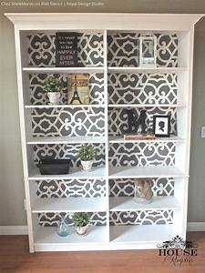 best 25 painted bookcases ideas on pinterest painting With kitchen cabinets lowes with stencils wall art