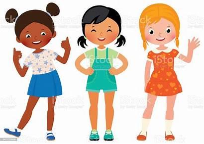 Three Amigas African Girlfriends Children Different Clipart