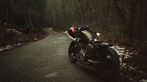 Road, Motorcycle, Helmet, Trees, Forest Wallpapers Hd