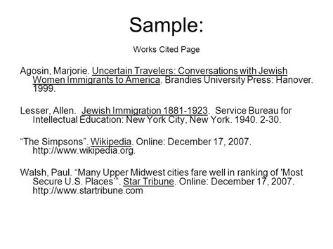 Works Cited Page.