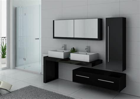 Meuble double vasque noir DIS9350N, meuble double vasque