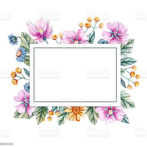 Floral Square Frame Of Watercolor Wildflowers There Is A