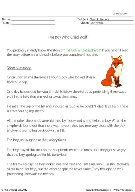 reading comprehension the boy who cried wolf