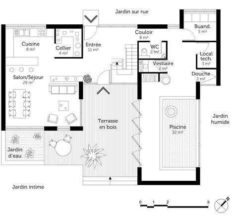 plan maison piscine interieure plan maison en u avec piscine ooreka