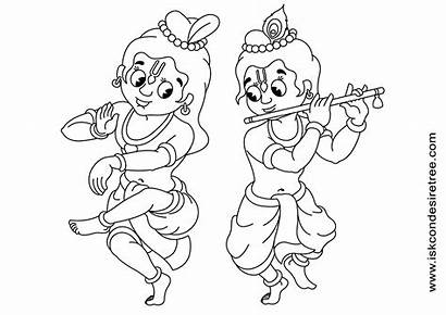 Krishna Coloring Drawing Line Balarama Sri